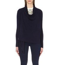 Ted Baker Byanca Knitted Wrap Cardigan Dark Blue