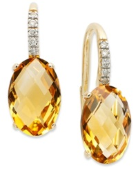 Macy's 14K Gold Earrings Citrine 6 Ct. T.W. And Diamond Accent Oval Leverback Earrings