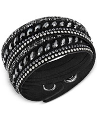 Swarovski Stainless Steel Slake Pulse Crystal Wrap Bracelet Black