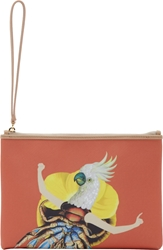 Mary Katrantzou Orange Leather Coco Pouch