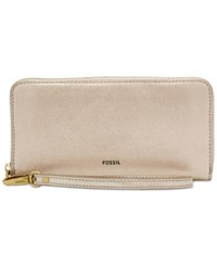 Fossil Emma Rfid Large Zip Clutch Wallet Taupe Metallic