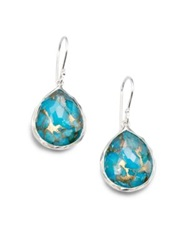 Ippolita Rock Candy Bronze Turquoise Clear Quartz And Sterling Silver Mini Doublet Teardrop Earrings Bronze Turquoise