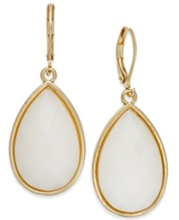 Charter Club Gold Tone White Teardrop Earrings