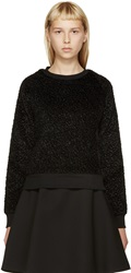 Carven Black Faux Astrakhan Sweater