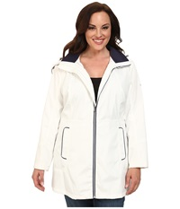 Jessica Simpson Plus Size Centerfront Zip Polybonded With Contrast Piping White Women's Coat