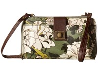 Sakroots Artist Circle Large Smartphone Crossbody Olive Flower Power Clutch Handbags Brown