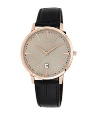 Vince Camuto Ladies Rose Goldtone Watch With Leather Strap Black