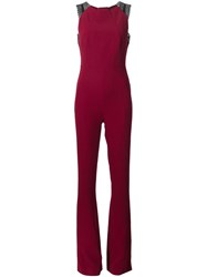 Roland Mouret Cross Back Jumpsuit Pink And Purple