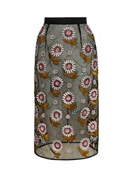 Markus Lupfer Daisy Argyle Embroidered Roisin Skirt Grey