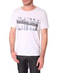 Menlook Label Cody White Slub Cotton Printed T Shirt