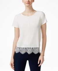 Cece By Cynthia Steffe Scalloped Lace Trim T Shirt Lt. Cream