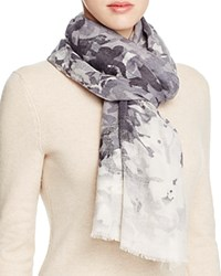 Lola Rose Haze Floral Wool Scarf Gray Neutral