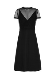 Valentino Gathered Tulle And Crepe Dress Black