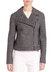 Tory Burch Raffia Cotton Blend Moto Jacket