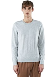 Lanvin Jersey Crew Neck Sweater With Shoulder Detail Grey