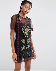 Asos Mesh T Shirt Dress With Embroidery Black