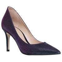 Kg By Kurt Geiger Bella Pointed Toe Stiletto Court Shoes Blue Fabric
