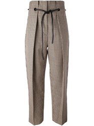3.1 Phillip Lim Origami Pleat Houndstooth Trousers Brown