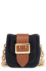 Burberry Suede And Canvas Convertible Crossbody Bag