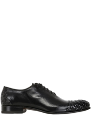 Harris Woven Leather Oxford Lace Up Shoes Black