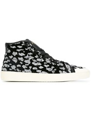 Saint Laurent Patterned Hi Top Sneakers Black
