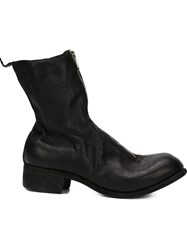 Guidi Distressed Zip Up Boots Black