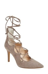 Vince Camuto Women's 'Barsha' Lace Up Pump Stone Taupe Suede