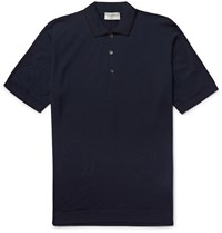 John Smedley Lydgate Slim Fit Merino Wool Polo Shirt Blue