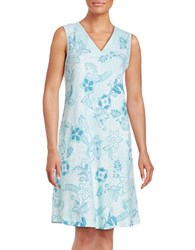 Miss Elaine Floral Print Nightgown Blue Patch