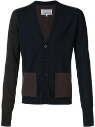 Maison Martin Margiela Contrast Colour Panel Cardigan Blue