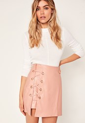 Missguided Pink Faux Leather Eyelet Detail Lace Up Skirt Nude