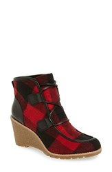 G.H. Bass Women's And Co. 'Teresa' Wedge Bootie Red Black Plaid Fabric