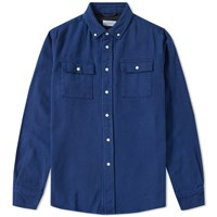 Saturdays Surf Nyc Angus Texture Solid Shirt Blue