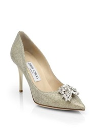 Jimmy Choo Mamey Metallic Crystal Point Toe Pumps Gold