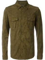 Desa 1972 Military Style Suede Shirt Green