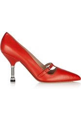 Miu Miu Leather Mary Jane Pumps Red