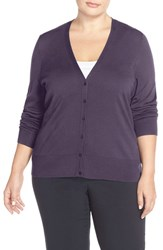 Sejour Plus Size Women's V Neck Cardigan Purple Night