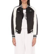 Mini Cream Embroidered Satin Bomber Jacket Black White