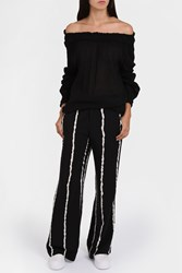Raquel Allegra Women S Gauze Shirred Top Boutique1 Black