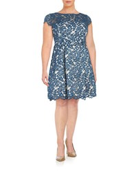 Eliza J Plus Lace Fit And Flare Dress Navy