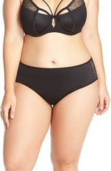 Ashley Graham Plus Size Women's 'Diva' Lace Back Briefs Black