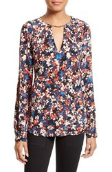 Tracy Reese Women's Floral Print Silk Cold Shoulder Blouse