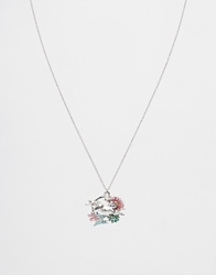 Bill Skinner Flower Leaping Rabbit Necklace Rhodium