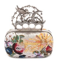 Alexander Mcqueen Night Dream Embroidered Knuckle Box Clutch Female White