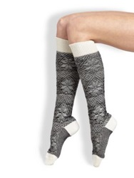 Maria La Rosa Snowflake Knee High Socks Black White