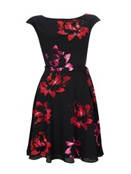Wallis Pink Floral Dress Black