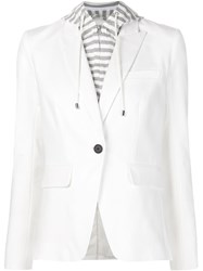 Veronica Beard Layered Hooded Blazer White