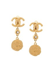 Chanel Vintage Cc Dangle Clip On Earrings Metallic