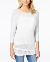 Calvin Klein Jeans Crew Neck Three Quarter Sleeve Sweater Vanilla