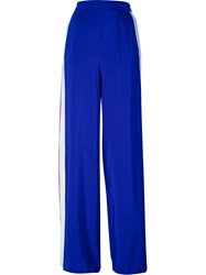 Msgm Side Stripe Detail Palazzo Pants Blue